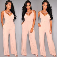 New Summer Fashion Women Style Women Long Jumpsuit Sexy Romper Elegant Casual V-Neck Sleeveless Jumpsuits = 1958038532