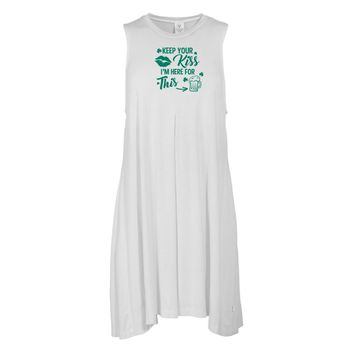 Keep Your Kiss... St. Patrick's Day Tee - STPATS09 Women's Sleeveless Spandex Pleat Dress