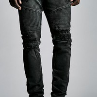 Bullhead Denim Co. Destroyed Moto Stacked Skinny Jeans - Mens Jeans - Black