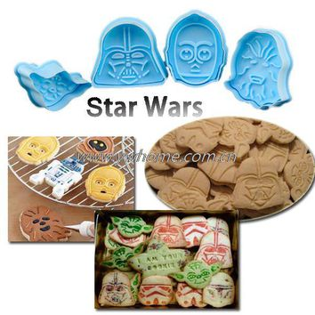 4pcs Star Wars Cake Fondant Plunger Cutter Mould Biscuit Cookies Decorating Mold