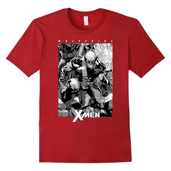 Marvel X-Men Wolverine Black & White Comic Panel T-Shirt