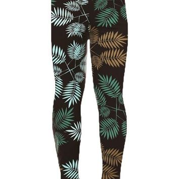 Girls Tropical Leggings Fern Leaf Teal/Tan/Black:  S/L