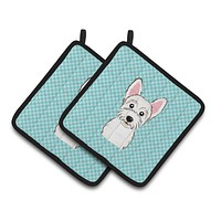 Checkerboard Blue Westie Pair of Pot Holders BB1164PTHD