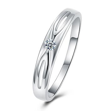 18K White Gold Plated  Swarovski Criss-Cross Ring 925 Sterling Silver Unique Casual Rings