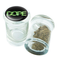 Stash Jar - Glass Pop Top - Dope Design - Stay Fresh Herbs 1/6 oz.