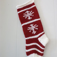 New - Red & White Wool Knit Christmas Stocking with Snowflakes