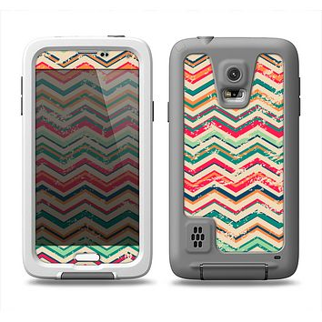 The Tan and Colored Chevron Pattern V55 Samsung Galaxy S5 LifeProof Fre Case Skin Set