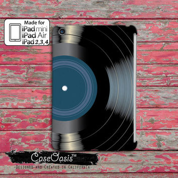 Vinyl Record Blue Label Classic Vintage Music Album Tumblr Inspired Black Record Cool Custom iPad Mini, iPad 2/3/4 and iPad Air Case Cover