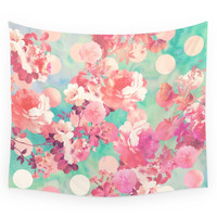 Society6 Romantic Pink Retro Floral Pattern Teal P Wall Tapestry