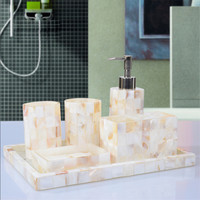 Art Decorative Pearl Shell Bathroom Accessory Set Soap Dish Dispenser Tumbler Toothbrush Holder Lotion Dispenser  Bath Tools