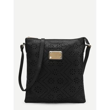 Floral Detail Laser Out Crossbody Bag
