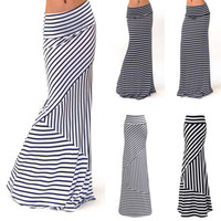 Women ASYMMETRIC High Waist Striped Fold Over Stretch Long Maxi Skirt Plus Size