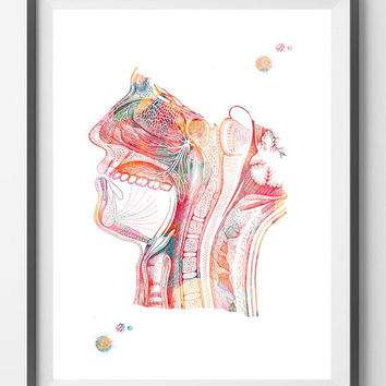 Respiratory system watercolor print Nose Mouth Throat Larynx anatomy art poster Human Head section air pathway medical art print wall decor