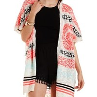 Ivory Combo Short Sleeve Tribal Cardigan Sweater by Charlotte Russe