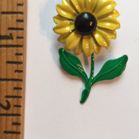 Vintage Enamel Costume Jewelry Yellow Sunflower Brooch Pin