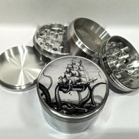 "Octopus The Kraken Attacks Pirate Ship 4 Piece Silver Alumium Grinder 2.5"" Wide Nautical"