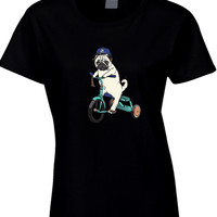 Pug Riding Bicycle Womens T Shirt
