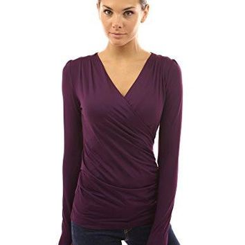 Women's Faux-Wrap Long-Sleeved Blouse