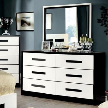 Perpetual Designed Wooden Dresser, White And Black
