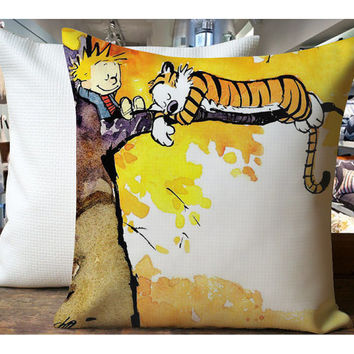 Calvin And Hobbes Sleeping On Tree - Housewares , Home Decor , Pillow Case One Side / Two Sides Design