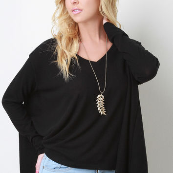 V-Neck Long Sleeved Trapeze High-Low Top