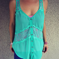 Sheer Lace Racerback Tank
