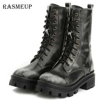 SHOES BOOTS Genuine Leather Retro Women's Motorcycle Boots Fashion Waterproof Women Martin Boots Woman Punk Gothic Platform Shoes