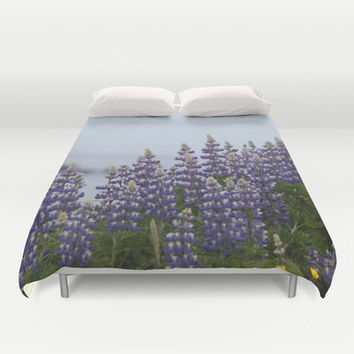 Purple Lupine Flower Duvet Cover, Floral Duvet Cover, Microfiber Blanket, Bedroom Decor, Purple Duvet Cover, Queen Duvet Cover, King Duvet