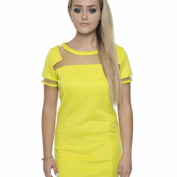 Lucy Acid Lime Shift Dress with Mesh Panelling