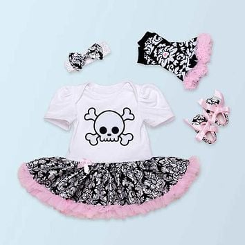 Skull Baby Girl Romper Dress Headband Crib Shoes Leg Warmers Newborn Tutu Set