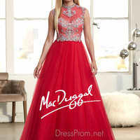 High Collar Neckline Prom Ball Gown By Mac Duggal 48250H