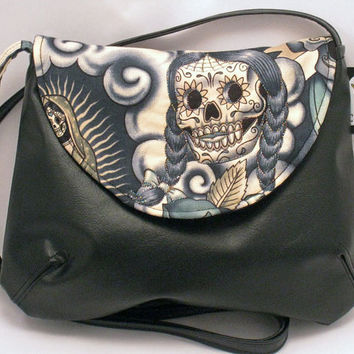 Sugar Skull Purse in Alexander Henry Contigo Blue Tattoo, Faux Leather Cross Body Purse