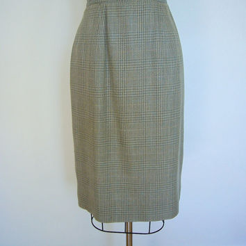 Vintage Pencil Skirt / Tan Brown Aqua Blue Plaid Silk / 1980s 80s / Size 8 Medium  M