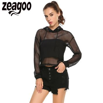 Zeagoo Women Casual Blouse Long Sleeve Lace Up Hooded Mesh Patchwork Sexy Hoodie Blouse Summer Sexy Ladies Party Tops Blusas
