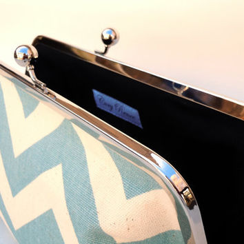 Chevron Blue and Cream Large Clutch Purse Bag 10 inch by coryrenee