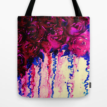 PETALS ON PARADE, Oxblood Marsala Red Royal Blue Floral Abstract Watercolor Roses Flowers Painting Tote Bag by EbiEmporium