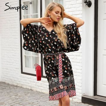 Simplee Floral print vintage kimono dress women Special sleeve split summer dress casual Sash japanese traditional long dress