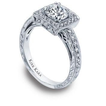 Kirk Kara hand-engraved square shaped halo engagement ring with round center from the Kirk Kara Carmella collection crafted with 0.35 carats of diamonds