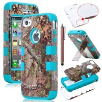 Ulak Triple Layer Hybrid Tree Pattern Camo Hybrid Hard Stand Case Cover for Apple Iphone 4 4s 4g with Screen Protector and Stylus (Brown Tree + Blue)