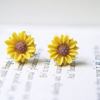 Sunflower Titanium Posts Earrings. Everyday Children Yellow Flower Earrings Dainty Small