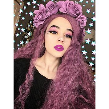 Lavender Purple Shade Slight Beach Curly Synthetic Lace Front Wig