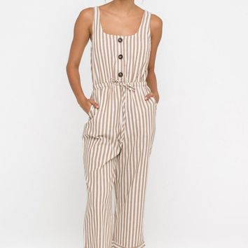Striped Drawstring Jumpsuit