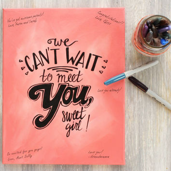 Girl Baby Shower Guestbook Canvas / We Can't Wait to Meet You, Sweet Girl! / Hand Painted, More Colors Available