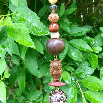 Repurposed Owl Ornament, Recycled Jewelry Ornament, Sun Catcher, Brown Bead Ornament, Window Charm, Hanging Garden Art, Upcycled Owl Decor