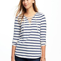 Relaxed Lace-Up Tee for Women | Old Navy