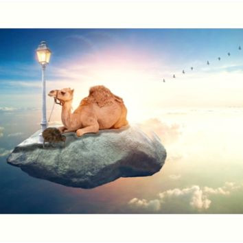 'Kiwi and camel riding on a rock in the sky by GEN Z' Impression artistique by Gen-Z