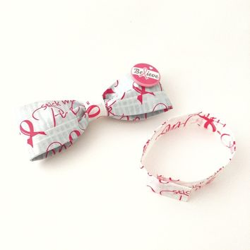 Pink Men's Clip-On Bow Tie Set, Breast Cancer Awareness Ribbon Button Bowties