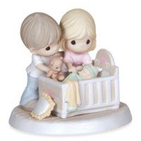 "Precious Moments® ""We're Glad You Came Into Our Lives"" Parents With Baby In Crib Figurine"