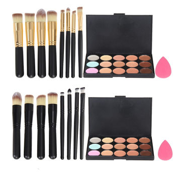 15 Colors Concealer Palette+Foundation Sponge Puff +8Pcs Makeup Brushes Naked Face Contour Camouflage Professional Makeup Set
