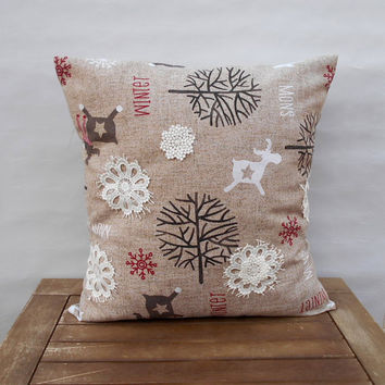Christmas Pillow Cover,  Deer Throw Pillow Cover, Lace Snowflake Pillow, Holiday Pillow, Pillow Cover 16 x 16, Christmas Decoration